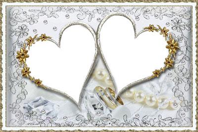 Свадебная рамка в виде двух сердец