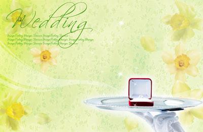 Свадебный шаблон с кольцам на подносе
