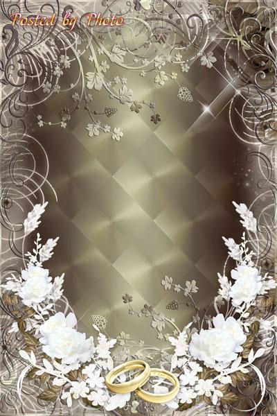 Свадебная рамка с белыми цветами