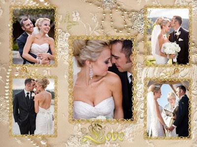 Свадебная золотая рамка
