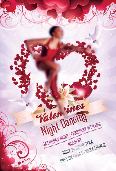 Флаер на ночь в день святого Валентина