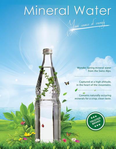 Макет плаката рекламы минеральной воды
