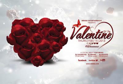 Шаблон афиши для вечеринки для дня святого Валентина