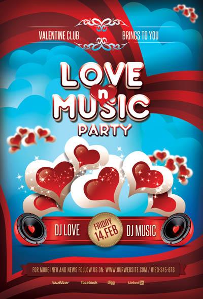 Шаблон афиши для вечеринки Любовь и Музыка