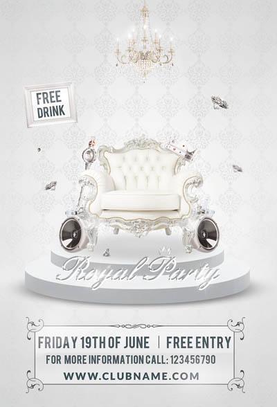 Афиша VIP вечеринки с белым креслом