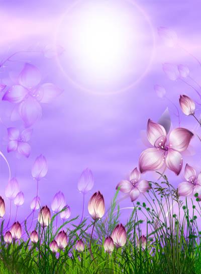 Фон фиолетовый с цветами