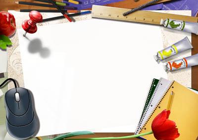 Школьная рамка с мышкой и красками