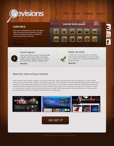 Шаблон сайта с деревянным фоном