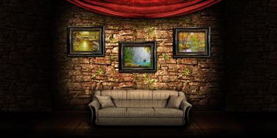 Диван и стена с картинами