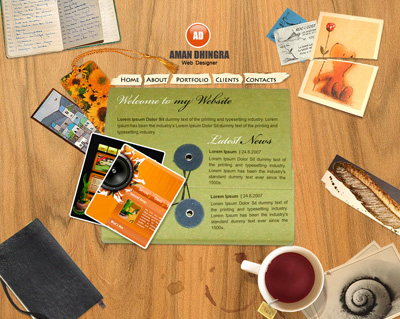 Шаблон сайта в стиле стола с предметами