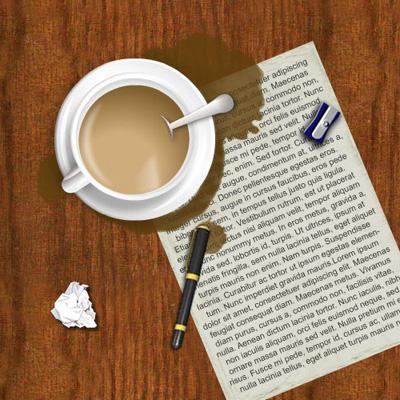 Стол с кофе и бумагой