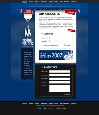 Оригинальный синий шаблон сайта