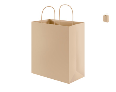 Бумажный пакет с ручками из веревки