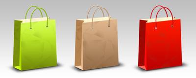 Три бумажных пакета для покупок