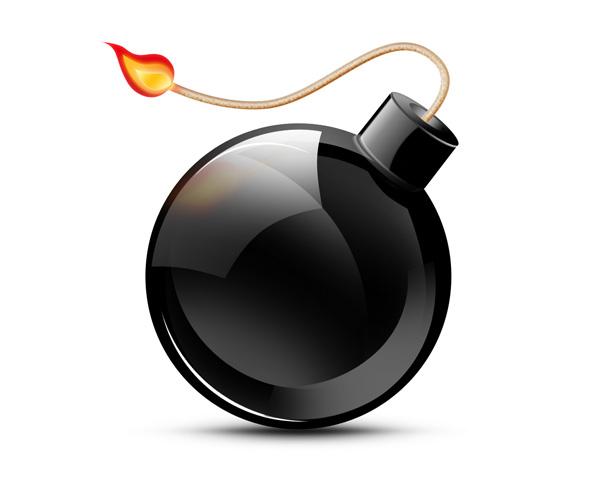 Иконка черной бомбы мины с