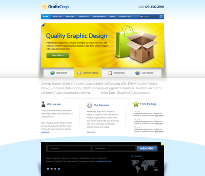 Шаблон сайта в голубом стиле, с желтым слайдером