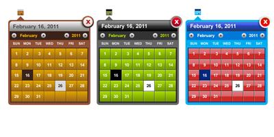 Классический календарь в трех цветах