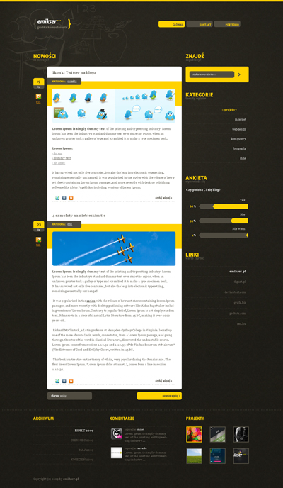 Черно желтый шаблон для сайта