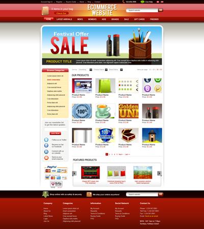 Шаблон интернет магазина красного цвета