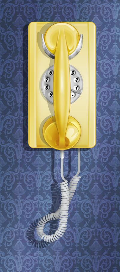 Старинный телефон на стене