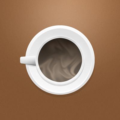 Кружка кофе сверху, на столе
