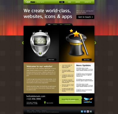 Шаблон сайта яркий с коричневой основой