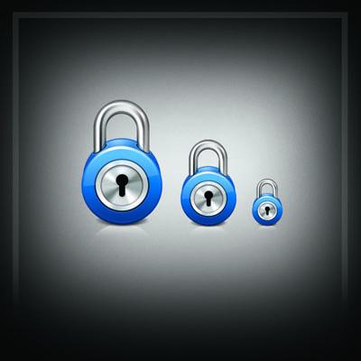 Иконка замка с синей окантовкой