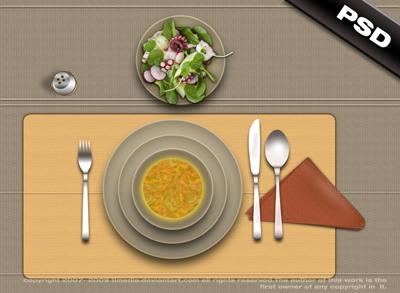 Стол с едой, вид сверху