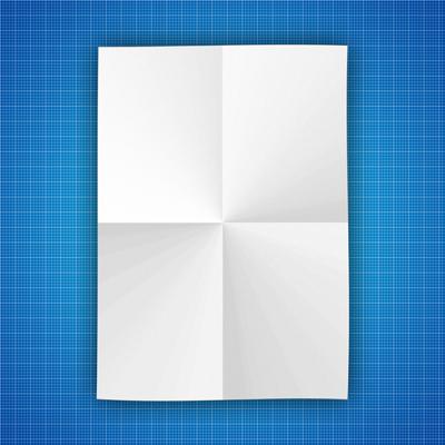 Развернутый белый лист бумаги