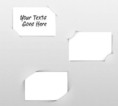 Визитка, с краями вставленными в бумагу