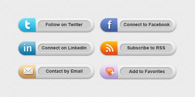 Шесть кнопок социальных сетей для сайта