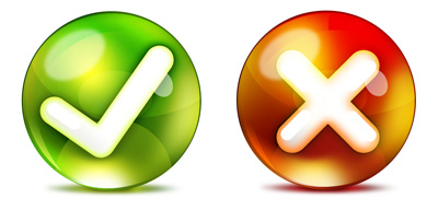 Две иконки Принять и Отказать