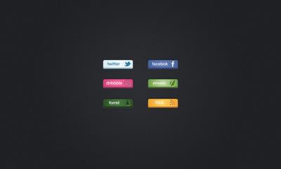 Шесть простых кнопок социальных сетей