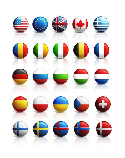 Набор из 25 флагов разных стран