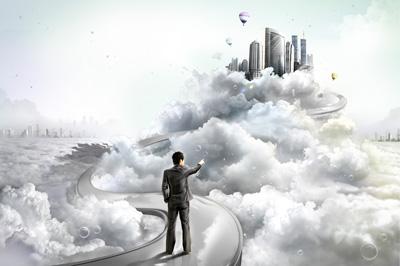Сет из облаков, дороги, человека