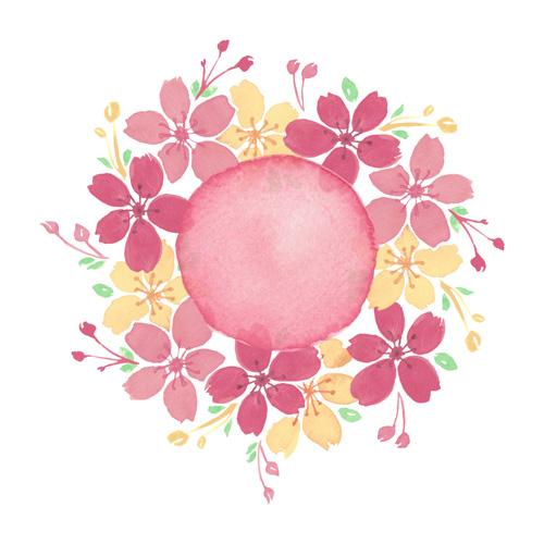 Логотип с цветами нарисованными акварелью