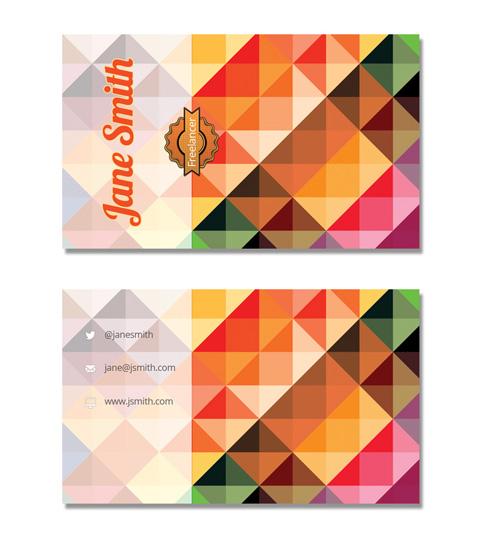 Макет визитки с разноцветной мозаикой