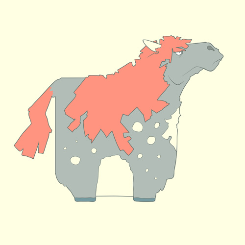Иконка лошади в стле Flat