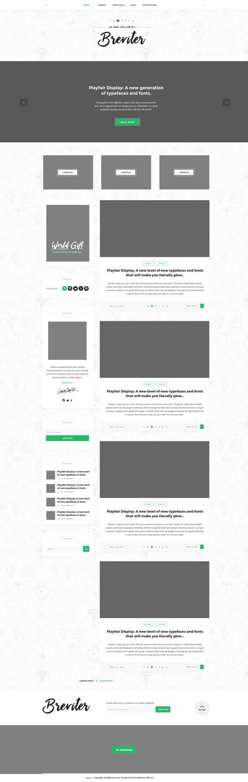 Макет сайта блога с слайдером в шапке и логотипом по центру