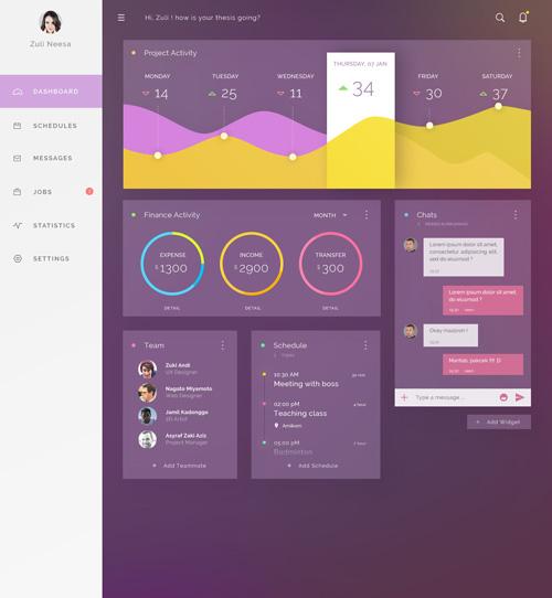 Инфографика фиолетового цвета