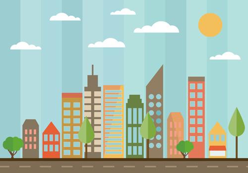 Город в в плоском стиле (flat)