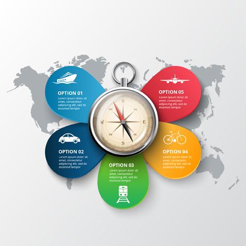 Инфографика с 5 разноцветными блоками