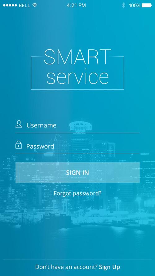 Страница авторизации в мобильном приложении