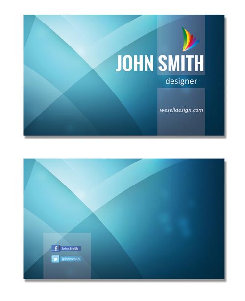 Шаблон визитки синего цвета