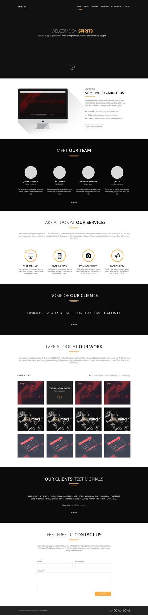 Сайт веб-студии в темных цветах