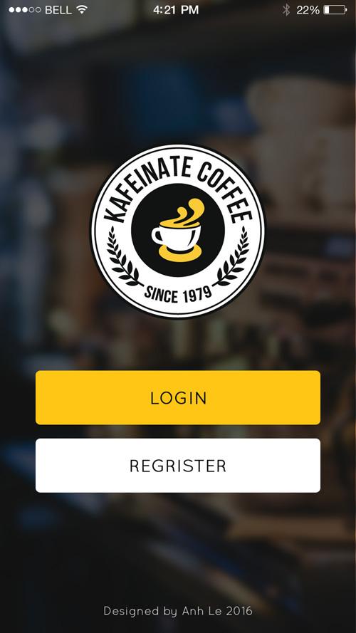 Шаблон страницы авторизации в мобильном приложении кофейни