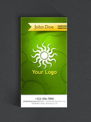 Зеленая вертикальная визитка