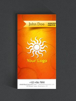 Вертикальная визитка с оранжевым фоном