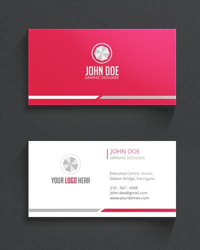 Современная визитка розового цвета