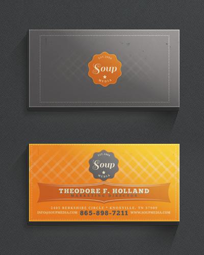 Винтажная визитка с оранжевым фоном